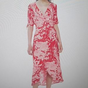 Topshop red print split sleeve wrap midi dress 8
